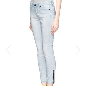 J.Crew Toothpick Pinstriped Ankle Jeans Sz 25